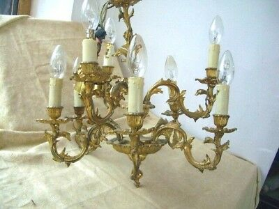 Vintage FRENCH Gilt Gold 9 Arm Ornate Ceiling Light Chandelier & 2x wall lights