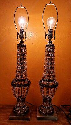 Pair of Stunning Vintage Hollywood Regency Table Lamps with strands of crystals