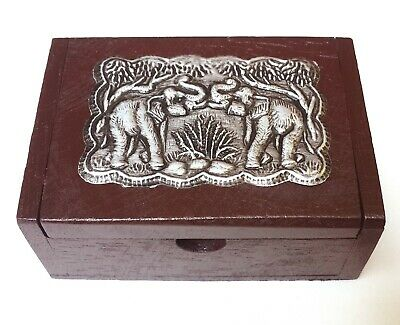 Small Wooden Box Silver metal pattern-elephant shape, Trinket Boxes, Jewelry Box