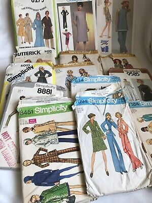 Lot Of 14 Vintage Sewing Patterns Simplicity Butterick