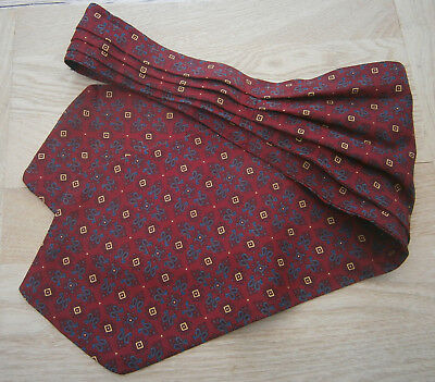 VINTAGE 1950s TOOTAL BURGUNDY PAISLEY CRAVAT GOODWOOD WEDDING CHAP