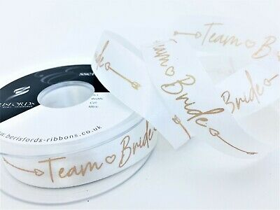 Berisfords Ribbon Team Bride White With Rose Gold Print  Width 25mm Wedding Time