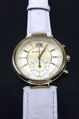 5f3bfacdf321 Michael Kors MK2528 Sawyer Gold Dial White Leather Strap Watch  NEEDS  BATTERIES