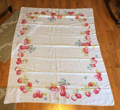 Vintage 64x50 Luther Travis Apple Fruit Floral Butterfly Print Linen Tablecloth