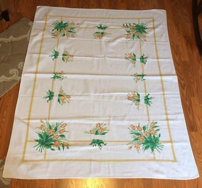 Vintage 63x52  Colorful Startex Yellow Spring Tulips Floral MCM Print Tablecloth