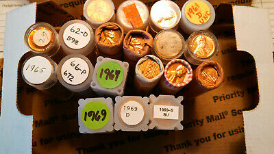 19 Uncirculated Rolls of  Lincoln Cents. 1960-P to 1969-S.
