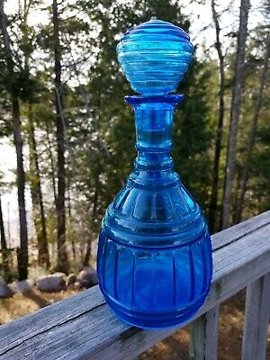 VTG Mid-Century Paneled TURQUOISE GLASS Genie  Bottle DECANTER + BEEHIVE STOPPER