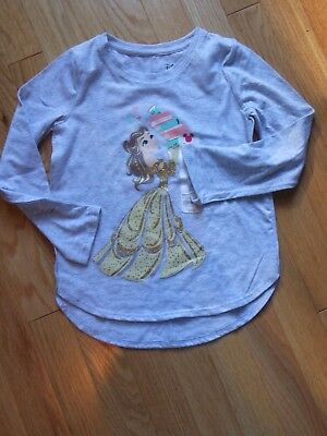"NWT - Disney Princess long sleeved grey & sparkly gold ""Love to Read"" top - 5"