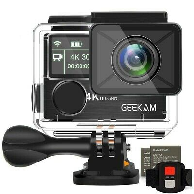 Action Camera 4k Dual Screen Underwater 100ft WIFI Sports Camcorder