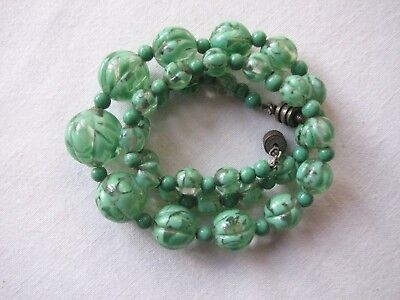 Vintage Deco Venetian Clear Glass with Green Swirls Beads  Necklace