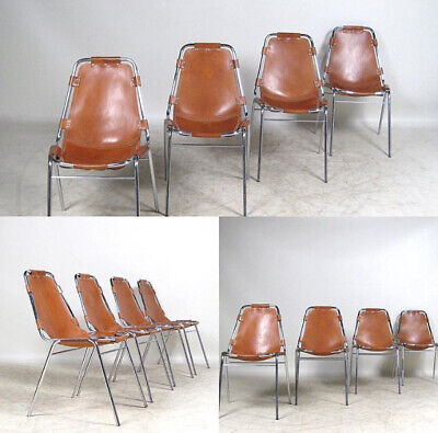 ORIGINAL RARE SET OF 12 CHARLOTTE PERRIAND LES ARCS CHAIRS C1960's LEATHER STEEL