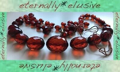 Antique ArtDeco Vintage Red Cherry Amber Bakelite Faceted Bead Necklace ReString