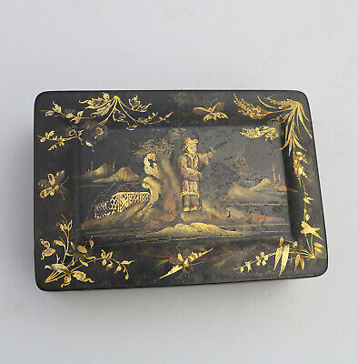 Antique Treen Paper Mache Victorian lacquered box with Chinoiserie  C.19thC
