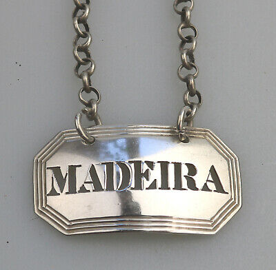 Antique Wine : A Solid Silver Georgian pierced Decanter Label Ticket Madeira