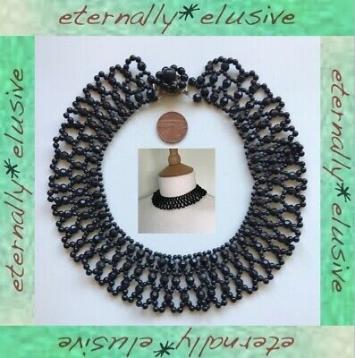 Antique Victorian Vintage Mourning Jewellery Black Whitby Jet Collar Necklace