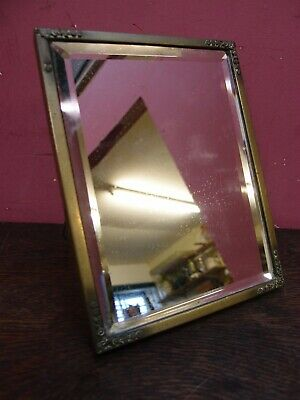 ANTIQUE BEVELLED PLATE GLASS MIRROR IN BRASS FRAME WALL HANGING or EASEL STAND