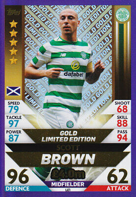 TOPPS MATCH ATTAX SPFL 2018-19 - Scott Brown - Celtic - # LE1 - GOLD LIMITED Edt