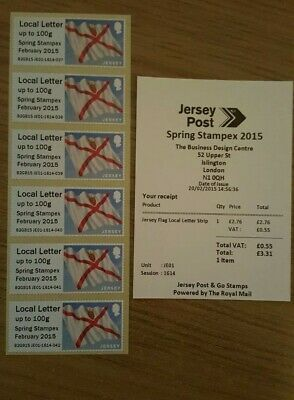 Jersey Post & Go Local Letter Strip Of 6 With Stampex 2015 Overprint Mnh.
