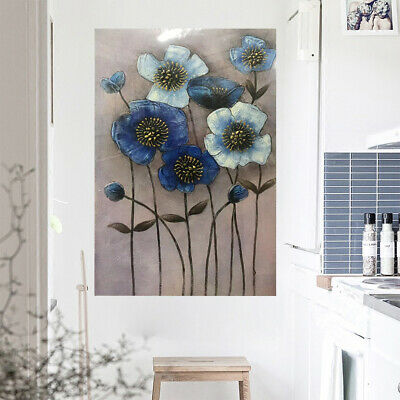 Hand Painted Oil Painting Stretched On Canvas Wall Art: Blue Flowers (Framed)