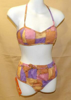 GIRL YOUTH JR HIGH VTG 70s PINK PATCHES BIKINI BATHING SWIM SUIT NOS NEW OLD 10