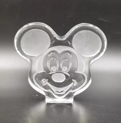 """ETCHED 4.25"""" GLASS MICKEY MOUSE HEAD FIGURINE or PAPERWEIGHT   19"""