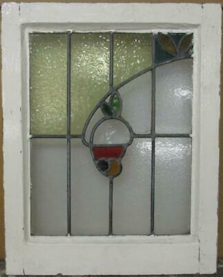 "OLD ENGLISH LEADED STAINED GLASS WINDOW Colorful Sweep Design 15.75"" x 19.75"""