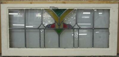 "OLD ENGLISH LEADED STAINED GLASS WINDOW TRANSOM Stunning Geometric 33"" x 15.5"""