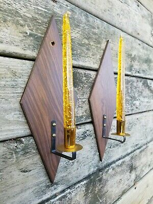 Vintage Mid-Century Modern MOD Diamond Wood WALL CANDLE SCONCE Pair Brass Cups