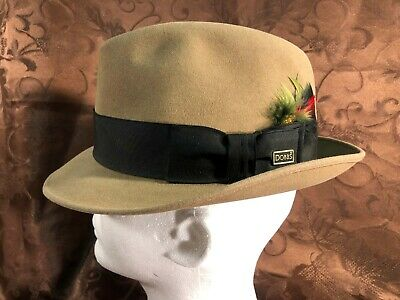 1f547404f8ffc4 VINTAGE DOBBS 5TH Ave Grey Straw Black Band Fedora Hat Cap Sz 7 1/8 ...