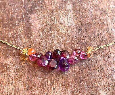 natural gemstone bracelet Amethyst Carnelian beaded bar birthstone gems 14k gold