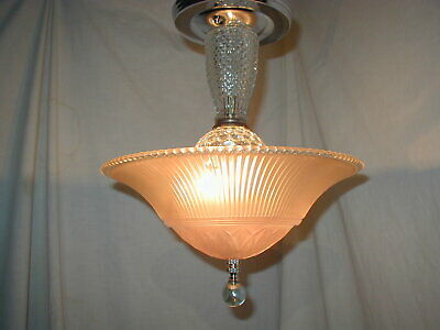 Antique Vtg Art Deco 30S Pink Blush Peach Glass Shade Light Fixture Chandelier