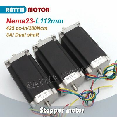 3Pcs Dual Shaft NEMA23 Stepping Motor 112mm/425oz-in/3A for CNC MIlling Machine