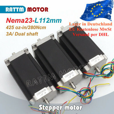 Dual shaft 3P NEMA23/425oz.in/2.8N/3A CNC Stepper Motor 112mm for CNC Router【UK】