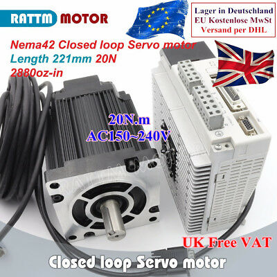 3 Phase NEMA42 20Nm 2880oz.in Closed loop Stepper servo motor driver kit CNC【GB】