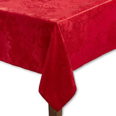 "Trim A Home Christmas Holiday Red Poinsettia Damask 70"" Round Fabric Tablecloth"