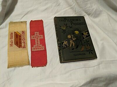 Pilgrim's Progress by Bunyan -Early Illustrated Ed, Circa 1860s w/ 2 bookmarks