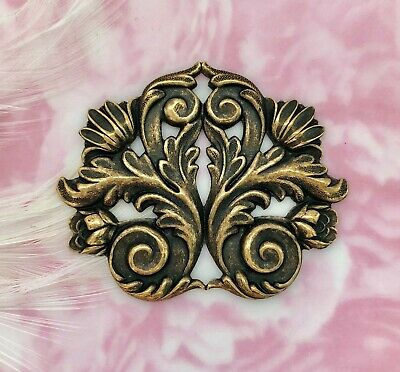 ANTIQUE BRASS FLOURISH SCROLL LEAF Stamping ~ Oxidized Finding (FB-6042)