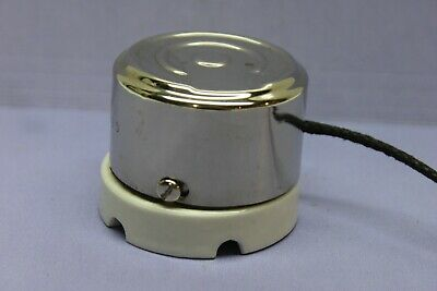 Vintage GE Chrome/Porcelain Rope Cord Pull Wall Light Switch - Double-Pole