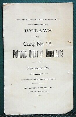 1918 antique PATRIOTIC ORDER OF AMERICANS BY-LAWS CAMP 28 pennsburg pa