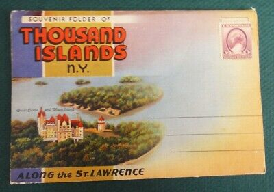 vintage PC LINEN FOLDER~THOUSAND ISLANDS N.Y. trees,buildings,water,flags,boats.