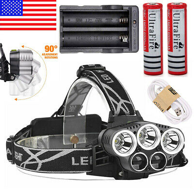 250000LM 5XT6 LED Rechargeable Headlamp Head Light Flashlight Torch Lamp 18650