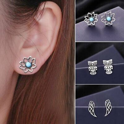 9F0E Bohemia Earring Suit Owl Wing Ornaments Turquoise Ear Studs Accessories