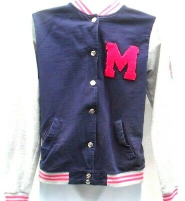 Age 12-13 Years Navy With Pink And Grey Trim Baseball Style Jacket  Yd