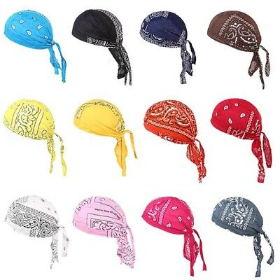 Men Durag Bandana Sport Doo Rag Cover Scarf Head Tie Down Band Biker Cap Great
