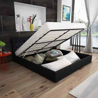 Storage Bed Frame Gas Lift 4FT6 Double Size With Slats Headboard 135 x 190 cm