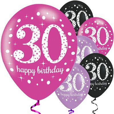 "Happy 30th Birthday Pink Mix Sparkling Celebration Balloons - 11"" Latex - 6pck"