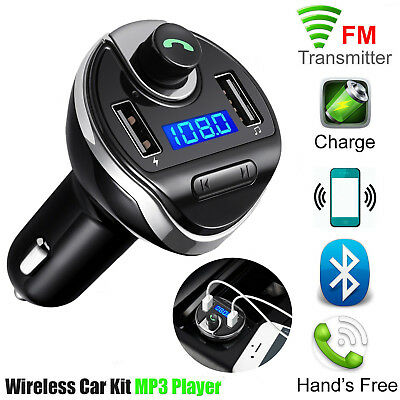 Wireless Bluetooth 2 USB Car Charger FM Transmitter MP3 Player Radio Hands Free