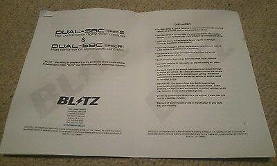 Blitz Boost Controller Dual Sbc Spec R / S Manual Instructions