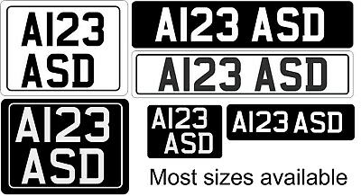 Retro Self Adhesive  Black,Silver,White Stick on number plate Classic Show Car