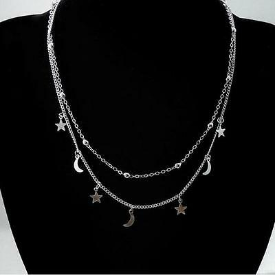 Lovely Double Sterling Silver Plated Necklace Star and Moon And Velvet Pouch UK